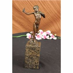 Vintage Austrian Bronze Boy Vienna Hot Cast Statue Art