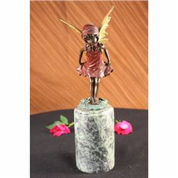 Art Deco Angel Fairy Red Patins Book End Bronze Statue