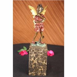 Art Deco Angel Fairy Red Patins Book-End Bronze Statue Sculpture Figure