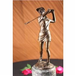 Bronze Statue Vintage Golfer Golf Female Golfing Trophy Sculpture Figurine