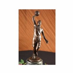 BASKETBALL REAL BRONZE FIGURE MARBLE AWARD SPORT PLAYER SCULPTURE ART