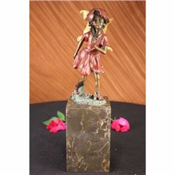 Gold Patina Guardian Butterfly Angel Bronze Figure Art