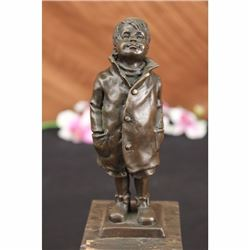 Vintage Signed Bronze Figure of Boy Sculpture