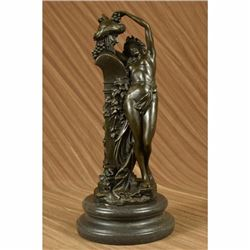 Large Frustration Satyr and Nymph Nude Bronze Sculpture Mythical Figurine Figure