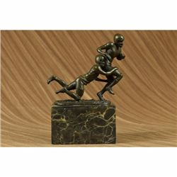 Two Muscular Football Players Rugby NFL Trophy Bronze Sculpture Statue Figurine