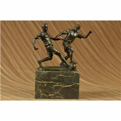 Original Art Deco Two Soccer Player FIFA Bronze Sculpture Statue Figurine Figure