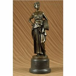 Signed Original Tusey Farmer Girl Carry Wheat Bundle Bronze Sculpture Statue