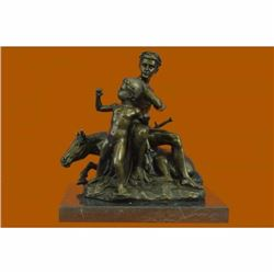 Signed French Artist Barye Roman Gladiator Sitting on Horse Bronze Sculpture