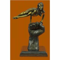 Hand Crafted Original Juno Naked Female Sitting on a Fist Bronze Sculpture Decor