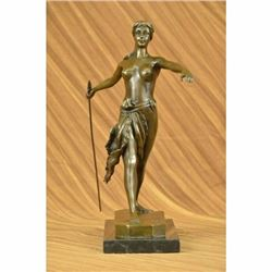 Diana the Huntress Elegant Bronze on Marble Base Statue Art Deco Sculpture SALE