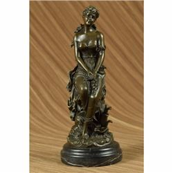 Hyppolyte Moreau Sexy Maiden Captive Bronze Sculpture Marble Base Statue Figure