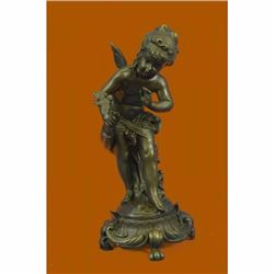 Hand Made Fairy Playing with a Bird Statue, 100% Bronze statues figurine Figure