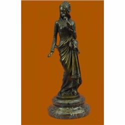 Signed Carrier Exquisite Maiden Bronze Sculpture Marble Base Figurine Home Decor