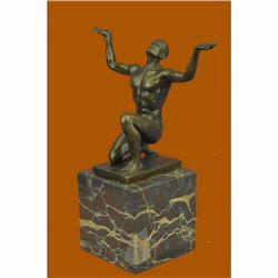 Abstract Modern Art Mid Century Nude Naked Male Athlete Bronze Sculpture Sale