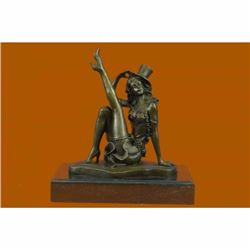 Sexy Burlesque Dancer Bronze Sculpture Statue Art Deco Marble Figurine Figure