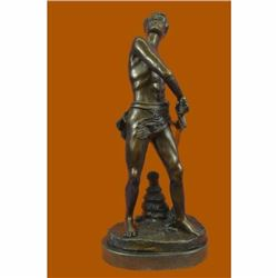 Gilt Bronze Sculpture Warrior with Sword by Adrien Gaudez Marble Figurine Figure