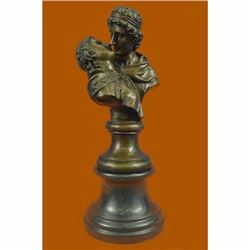 The Kiss Bronze Sculpture by Jean Houdon Hot Cast Marble Base Figurine Figure