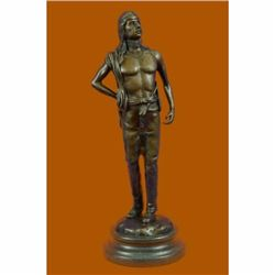 Fritz Berman Native Indian Prince Bronze Sculpture Marble Base Figurine Figure