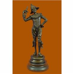 Lively Jester by French Artist Gueyton Bronze Sculpture Great Detail Figurine