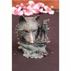 SIGNED MILO DECO EUROPEAN WOLF BRONZE SCULPTURE FIGURE FIGURINE