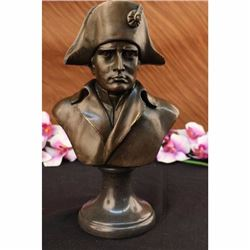 SOLID FRENCH OLD RARE SIGNED BRONZE NAPOLEON BONAPARTE BUST STATUE SCULPTURE