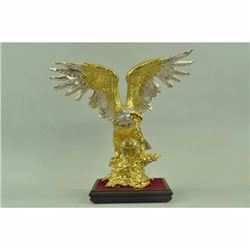 Large 24K Gold And Silver Bald American Eagle Hot Cast Bronze Masterpiece Decor