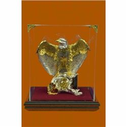 Large 24K Gold American Eagle Bronze Sculpture Classic Artwork Figurine Figure