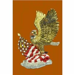 4th July Memorabilia 24K Gold and Solver Plated Bronze American Eagle Gift Decor