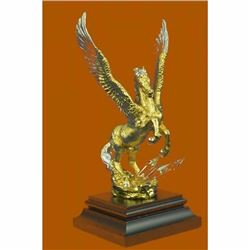 Art Deco 24K Gold and Silver Plated Pegasus Bronze Sculpture Statue Figurine LRG