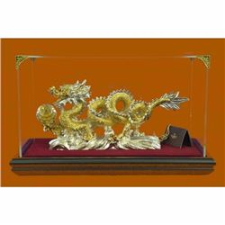 Hot Cast 100% Real Bronze Chinese Dragon Sign of Good Luck 24K Gold Plated Decor
