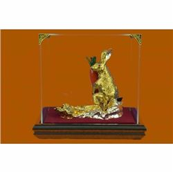 24K Gold Plated Real Bronze Easter Bunny Hot Cast Museum Quality Figurine Figure