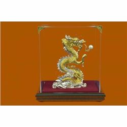 Genuine 24K Gold Silver Plated Bronze Dragon Classic Artwork Glass Display Decor