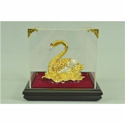 Art Deco Swan with Rubies 24K Gold Plated Sculpture Home Office Decor
