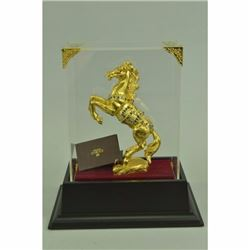 Art Deco Rearing 24K Gold Plated Horse With Gem Stone Glass Display Figurine
