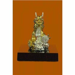 Foo Dog Temple Lions Keiloon Protection Prosperity Hot Cast Gold Plated Bronze