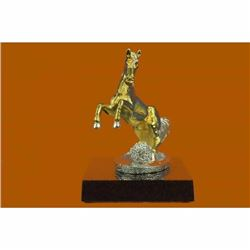 BRONZE SCULPTURE Show Horse French Thoroughbred Horse Show 24K Gold Plated Decor