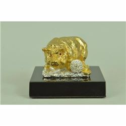 Chinese Zodiac Sign Pig Money Lucky 14K Gold Bronze Hot Cast Gift Box Figurine