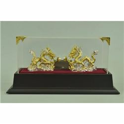 24K Gold And Silver Plated Bronze Dual Dragons Hot Cast Sculpture Figurine Decor