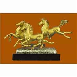 Three Horses Stallion 24K Gold Silver Plated Bronze Sculpture Figurine Figure NR