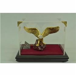 China Regius 100% Pure Bronze 24K Gold silver-Gilt bear roar Fly eagle Statue