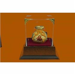24K Gold Lucky Money Bag Bronze Sculpture Statue With Glass Display Figure Deal
