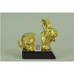 24K gold Plated Easter Bunny Bronze Card Holder Sculpture Figurine Figure Decor