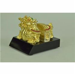 Dragon Tortoise 24K Gold Covered Business Card Holder Bronze Sculpture Statue