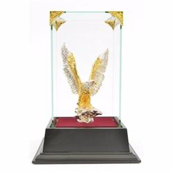Art Deco 24K Gold Plated American Bald Eagle Bronze Sculpture Figrine Figure