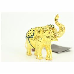 Miniature Vienna Bronze Elephant with Cubic Zirconia 24K Gold Bronze Sculpture