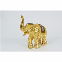 Bronze Elephant Figure with 24K Plated Gold Gilt Hand Worked Details-India Asia