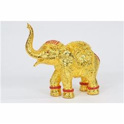 Elephant with Trunk Up 24 Gilt 24K Bronze Sculpture Hot Cast Home Decor Gift Art