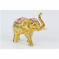 24K Gold Cubic Gem Safari African Elephant with Rhinestone Bronze Sculpture Sale