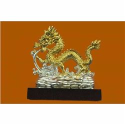 Chinese Zodiac Gold Dragon statue figure 24K gold plated Chinese Mascot Figure