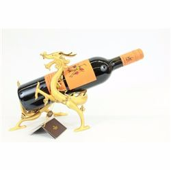 24K Real Gold plated Bronze Golden Dragon Wine Holder Sculpture Figurine Figure